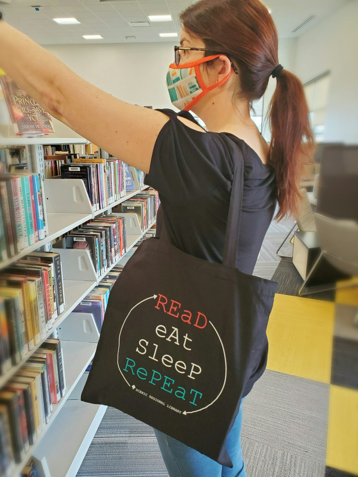 Read-Eat-Sleep-Repeat Canvas Tote